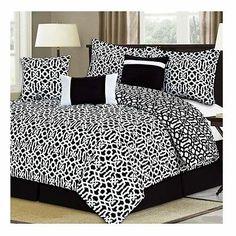 NEW Bed Bag King Queen Full 7 pc Black White Geometric Comforter Deco Pillow Set