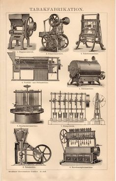 1895 Tobacco Manufacturing Antique Print Tobacco by Craftissimo
