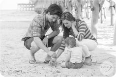 Folly Beach Family portrait | ©MCG Photography | lifestyle beach photography | black and white | building sandcastles