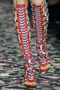 Spring 2008 Guesquière for Balenciaga - knee high gladiator sandals with a touch of Native American pattern