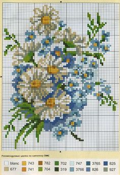 Daisies & Forget-me-nots & Key Cross Stitch Heart, Cross Stitch Cards, Cross Stitch Borders, Cross Stitch Flowers, Counted Cross Stitch Patterns, Cross Stitch Designs, Cross Stitching, Cross Stitch Embroidery, Embroidery Patterns