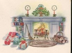 The Sum Of All Crafts: image collection-Holidays (Christmas) Christmas Card Images, Vintage Christmas Images, Retro Christmas, Christmas Pictures, Xmas Cards, Christmas Presents, Christmas Graphics, Christmas Fireplace, Christmas Room