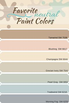 Selection Of Neutral Paint Colors From Sherwin Williams