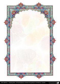 Arte islámico – Tazhib persa - cuadro - 61 | Galería de Arte Islámico y Fotografía Indian Wedding Invitation Cards, Wedding Invitation Card Design, Wedding Card, Islamic Art Pattern, Pattern Art, Motifs Islamiques, Pichwai Paintings, Arabic Design, Islamic Wall Art