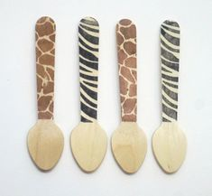 ZEBRA And GIRAFFE Wooden Ice Cream Spoons - Set Of 25 - Zoo, Animal Party, Circus Party, Jungle