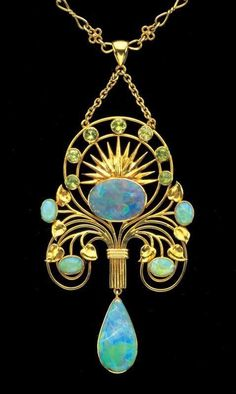 Gold & opal pendent circa by William Thomas Pavitt. Oh look, I'm pinning another art nouveau opal pendant! Tiffany Jewelry, Opal Jewelry, Jewelry Art, Antique Jewelry, Vintage Jewelry, Fine Jewelry, Jewelry Necklaces, Jewelry Design, Gold Jewelry