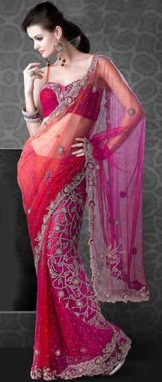 #Red and #Pink Net #Saree @ $274.87