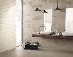 GLANCE  Panaria Buxstone Bagno Scandinavo  bathroom design , floor and wall tiling .