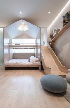 Wooden headboard: 60 inspiring tips and templates- Kopfteil aus Holz: 60 inspirierende Tipps und Vorlagen Wooden headboard: 60 inspiring tips and templates # Bedroom furniture - Modern Kids Bedroom, Modern Bedroom Design, Childrens Bedroom, Modern Girls Bedrooms, Kid Bedrooms, Awesome Bedrooms, Cool Rooms, Bunk Beds With Stairs, Girl Bedroom Designs