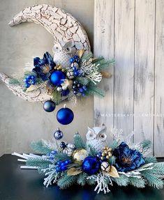Blue Christmas Decor, Christmas Gift Decorations, Christmas Centerpieces, Diy Christmas Ornaments, Christmas Wreaths, Christmas Holidays, Christmas Craft Projects, Holiday Crafts, Homemade Christmas Cards