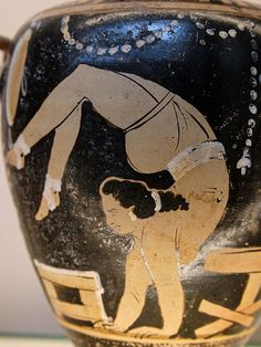 A female acrobat next to a potter's turntable. Detail from a Campanian red-figure hydria, ca. 340-330 BCE. Trade and the search for raw materials, especially metals, first brought the ancient Greeks to southern Italy and Sicily. Artistically these outposts brought Greek models which regional artisans developed into a distinctive style with local subjects.