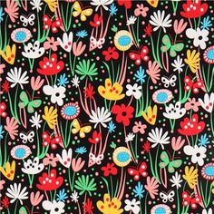 black flower and butterfly fabric by Robert Kaufman - Flower Fabric - Fabric - kawaii shop modeS4u