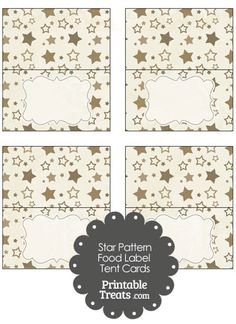 Vintage Brown Star Pattern Food Labels from PrintableTreats.com