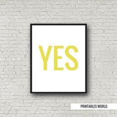 Yes Printable Poster Instant Download Yellow by PrintablesWorld