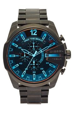 DIESEL® 'Advanced' Chronograph Bracelet Watch, 51mm available at #Nordstrom - watches designer mens, designer watches mens, black mens watches