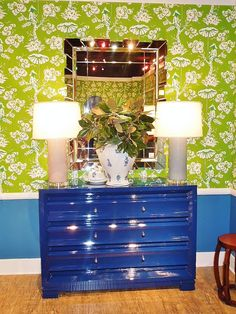 Gorgeous blue lacquer dresser from #HPMKT