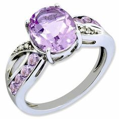 Sterling Silver Diamond & Pink Amethyst Ring