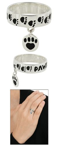 Paws I Love You Sterling Ring at The Animal Rescue Site  <3 it!