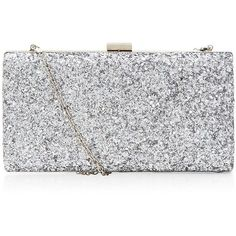 Silver Glitter Chunky Clutch ($38) ❤ liked on Polyvore featuring bags, handbags, clutches, chain handle handbags, chain strap purse, silver glitter handbag, glitter purse e silver clutches