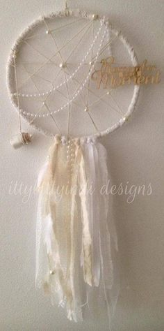 Remember this Moment Dream Catcher- Darling and dreamy, fit for a princess ! handmade by www.facebook.com/ittybittyindidesigns