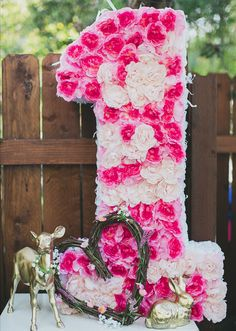 Love this floral decor for a 1st birthday party for a little girl