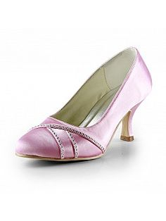 Pink Satin Mid Heel Wedding Shoes with Rhinestones - AUD AU$115.07