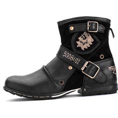 Men Black Leather Modern Vintage Dress Dr. Martens Boots SKU-1280560