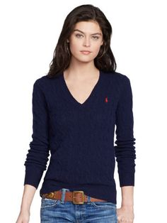Polo Ralph Lauren Cable-Knit V-Neck Sweater Ralph Lauren Blazer, Ralph Lauren Style, Polo Sweater, Sweater Outfits, Cashmere Sweaters, Sweaters For Women, V Neck, Clothes For Women, Cable Knit