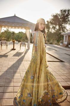 Sangeet Lehengas - Yellow and Aquamarine Net Lehenga | WedMeGood #wedmegood #indianbride #indianwedding #bridallehenga #sangeetlehenga #yellow #aquamarine