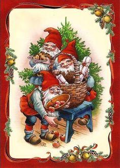 Swedish Christmas, Old Christmas, Retro Christmas, Christmas Crafts For Kids, Christmas Pictures, Beautiful Christmas, Christmas Cards, Vintage Cards, Vintage Postcards