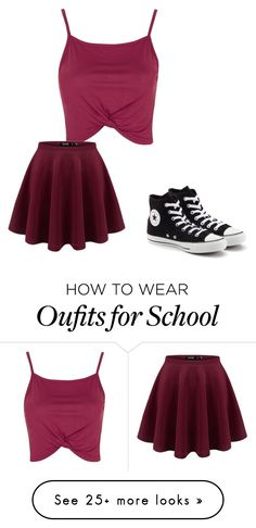 """School"" by chloelael on Polyvore featuring Topshop and Converse"