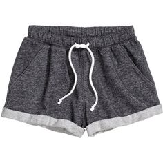 H&M Sweatshirt shorts (60 EGP) ❤ liked on Polyvore featuring shorts, bottoms, pants, short, black, h&m shorts, black shorts, h&m, short shorts and black short shorts