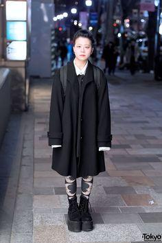 Harajuku Girl w/ Yellow-Purple Hair in Vintage Coat, Comme Des Garcons & WEGO