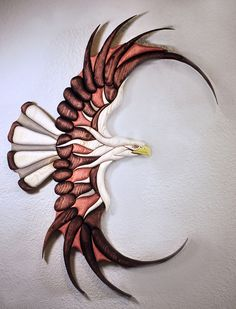 Bald Eagle 70 piece Wood Intarsia from Eklektik Kreations by Katie http://www.eklektikkreationsbykatie.com/ eclectic wood intarsia pysanky ukrainian art eggs segmentation marquetry sculpture wall animal sale scroll saw natural grain decor home house products hand made painted glass glasses wine gifts Easter wax dye decorative glass decoration personalized name custom orders pet portrait sign Native American