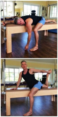 Post-pilates workout: opening up the hip flexors. First, I relax the hips completely (before taking it to the next level). For bulletproof abs: http://overfiftyandfit.com/health-protocols/ #pilates #mobility #menshealth #over50 #longevity #protocols #healthyliving