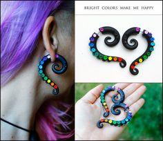 Rainbow earrings, Faux gauge earrings, fake gauge, tentacle earrings, octopus earrings, fake ear plug, black spiral earrings, plug earrings  Rainbow