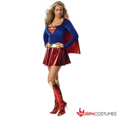 Buy Secret Wishes Supergirl Costume (Large) at Mighty Ape NZ. Secret Wishes Supergirl Costume (Large) This Secret Wishes Supergirl costume comes with a dress with attached cape, belt and boot tops. Supergirl Halloween Costume, Sexy Halloween Costumes, Adult Costumes, Costumes For Women, Women Halloween, Halloween Party, Carnival Costumes, Adult Halloween, Halloween Cosplay