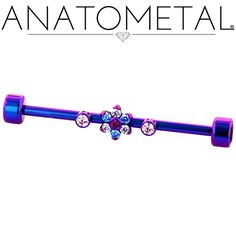 "1 1/8"", 12ga Gemmed Industrial Bar with Threaded Flower and Threaded Bezel-set Gem Ends in ASTM F-136 titanium, anodized blurple: synthetic Ruby, Arctic Blue CZ. CZ, Pink CZ gemstones"
