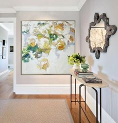 Hand painted abstract flower oil painting, large abstract art on canvas from CZ Art Design. Abstract Flower Oil Painting #LX40A