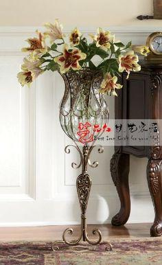 Red Quality Fashion Vase Iron Glass Vase Tall Large Floor Vase