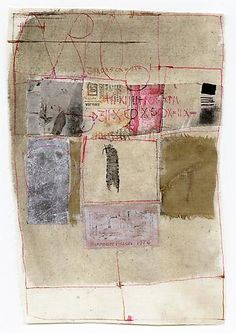 HANNELORE BARON - Untitled, 1976 Fabric, paper, ink on fabric 9.13 x 6.5 inches