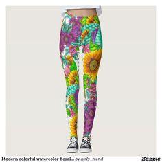 Modern colorful watercolor floral hand drawn leggings