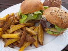 Butternut Squash and Chickpea Burgers with Smokey Garlic Chips by tastyshoestring.com