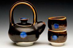 Suzy Hatcher - tea set with blue dot
