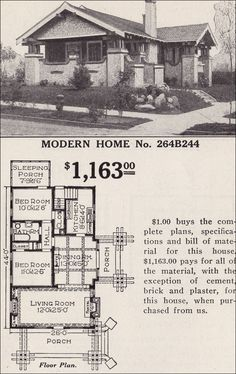 Modern Home 264B244 - The Osborn - Japanese-influenced - Craftsman-style Bungalow - 1916 Sears House Plans