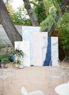 Custom Paintings Ceremony Backdrop With Ghost Chairs | Bellwether Designs | Matthew Moore Photography