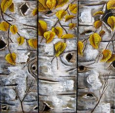 "Art titled, ""Aspen Triptych"". 36"" x 24"" painting by artist, Wanda Pepin.   Beautiful painting of Aspen Trees, bark and leaves in a 3-part, triptych. There are 3 12"" x 24"" paintings that can be displayed together or separately."