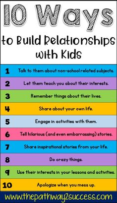 Relationship-building with kids and young adults is so important! Read up on 10 ways you can build relationships with kids to help them learn! #kids #sel #socialemotionallearning #relationships #pathway2success