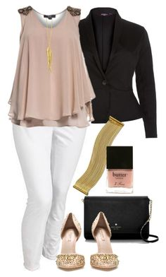 Black, White and Nude - Plus Size by alexawebb on Polyvore featuring Old Navy, Zara, Kate Spade, Lauren Ralph Lauren, Dinny Hall, Butter London, plus, plussize and size