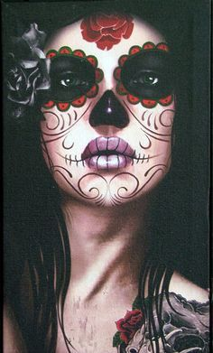 day of the dead skull painting on canvas - Google Search